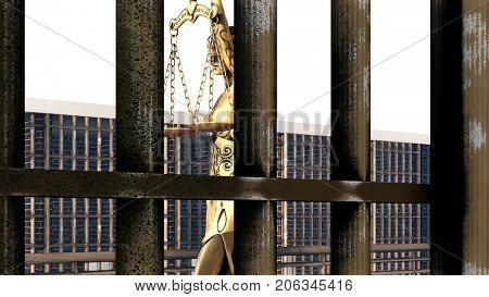 Conceptual illustration on existence in prison 3d rendering
