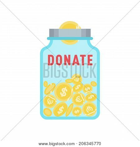 Donate button with coins, jar and dollar sign. Help sticker with glass jar. Gift charity. Isolated support design. Contribute, contribution, give money, giving symbol. Vector illustration
