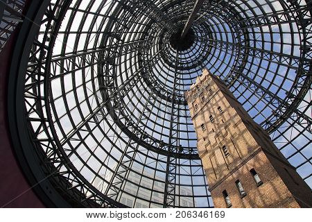 Melbourne, Australia: March, 2017: Coops Shot tower at Central Railway Station in Melbourne. Coop's Shot Tower is located in the heart of the Melbourne. It was completed in 1888 and is 50 metres high.