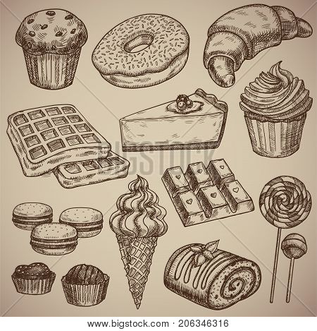 Engraving a sweet set: muffin donut croissant waffles cheesecake capcake macaroons chocolate bar two chocolate sweets ice cream in a waffle cup a chocolate roll and two candies on a stick. Engraving menu for the restaurant. Vector illustration. EPS 10.