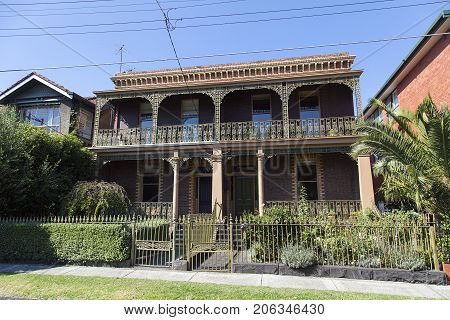 Melbourne, Australia: April 04, 2017: Desirable Victorian style semi-detached house in Melbourne.