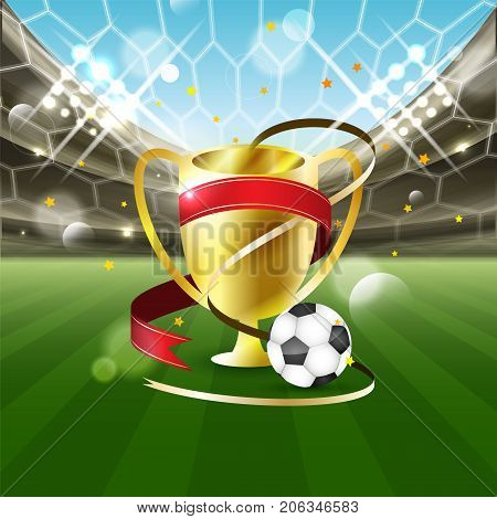 Football stadium with a ball and gold cup with ribbons on the grass. Stars tribune and spotlights. Vector illustration.