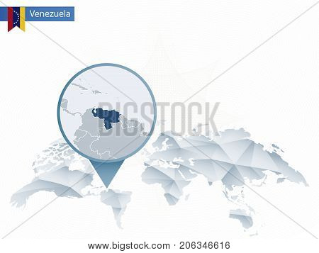 Abstract Rounded World Map With Pinned Detailed Venezuela Map.