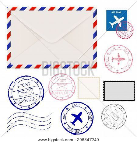 Airmail envelope with postmarks. Vector 3d illustration isolated on white background