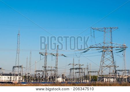 Station Electrical Wires Energy Electrical Poles Building