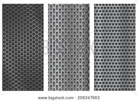 Metal perforated backgrounds. Brochure design templates. Steel flyer layouts. Vector 3d illustration