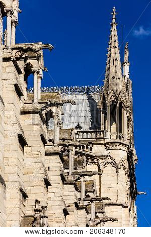Architectural details of the catholic cathedral Notre Dame de Paris. Built in French Gothic architecture Notre-Dame's facade showing a collection of gargoyles and chimera. Paris France