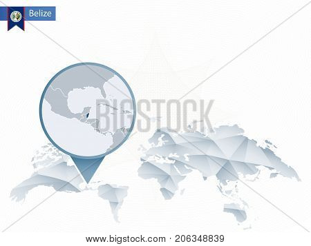 Abstract Rounded World Map With Pinned Detailed Belize Map.
