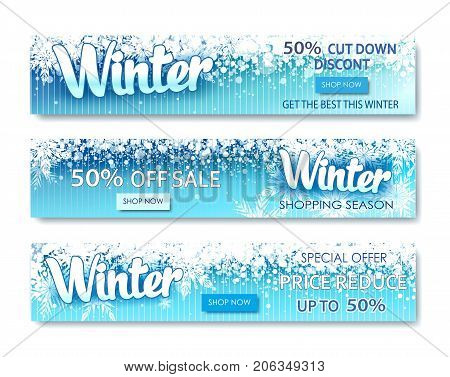 Winter sale text banners for December shopping promo or 50 shop discount. Design decoration with snowflakes, frosty patterns in bright style
