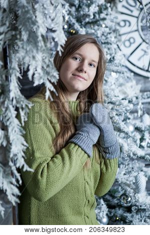 Young happy girls in Christmas decoration
