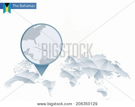 Abstract Rounded World Map With Pinned Detailed The Bahamas Map.