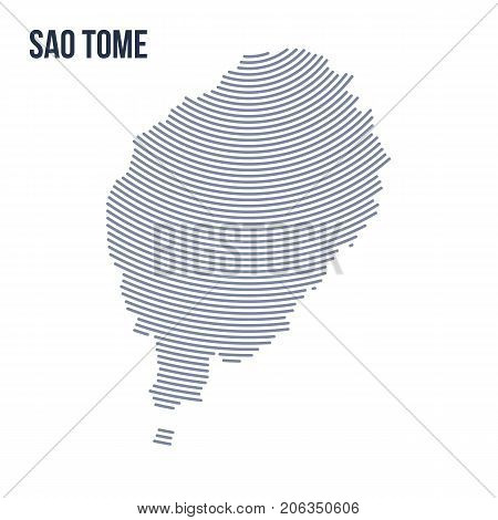 Vector Abstract Hatched Map Of Sao Tome With Curve Lines Isolated On A White Background.