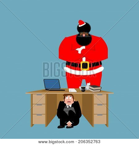 Businessman Scared Under Table Of Angry Santa Claus. Frightened Business Man Under Work Board. To Hi