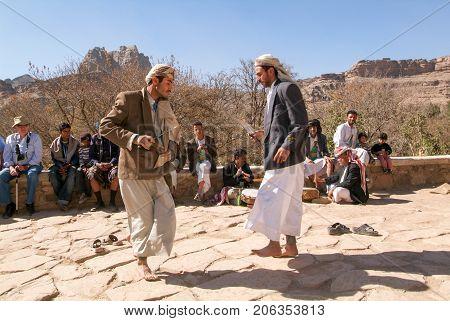 Two Men Dancing The Traditional Yemeni Dance With Jambiya Dagger