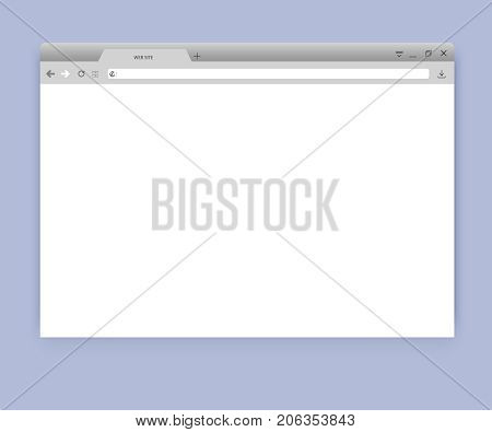Browser or web browser in flat style. Window concept internet browser. Simple blank browser window mockup