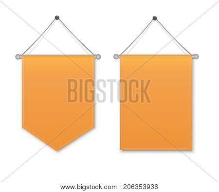 Empty 3D Pennant Blank. Orange pennant hanging. Poster mockup