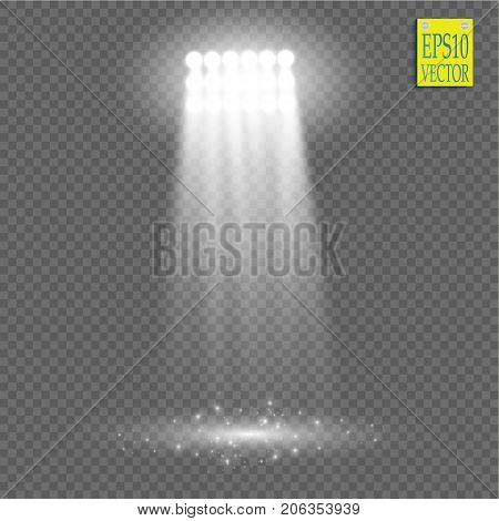 White vector spotlight light effect on transparent background. Concert scene with sparks illuminated by glow ray. Stadium projector. Show room. Vector
