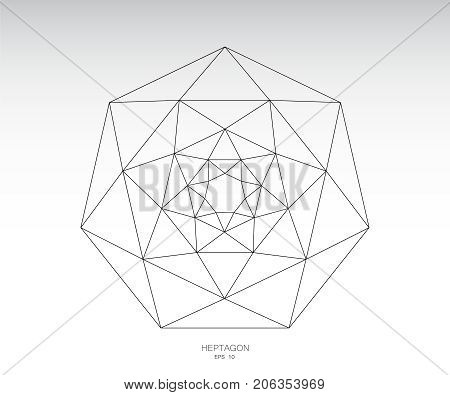 Heptagons and triangles. Heptagon geometric icon vector