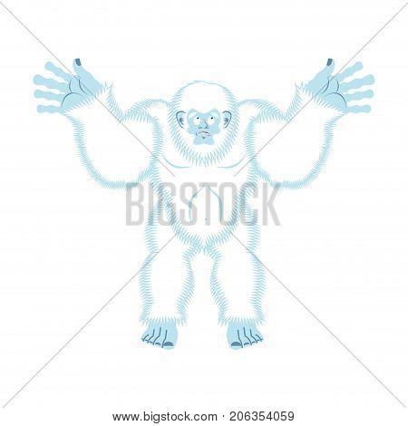 Yeti Guilty. Bigfoot Surprise. Abominable Snowman Culpablen. Vector Illustration