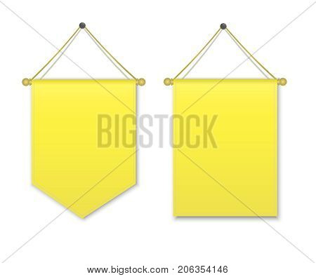 Empty 3D Pennant Blank.Yellow pennant hanging. Poster mockup