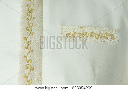 Ivory gold color Thai wedding custom shirt with pocket decorated by gold lace