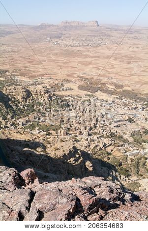 Overview Of Shibam Valley Seen From Kawkaban On Yemen