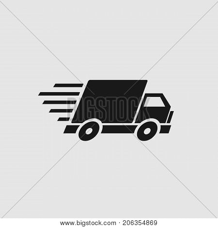 Fast shipping delivery truck. Delivery truck flat icon. Vector stock.
