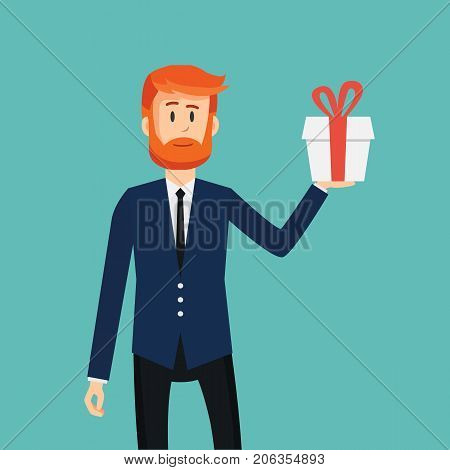 Businessman holding a box wih gift. Business concept. Man with gift in flat style. Vector stock.