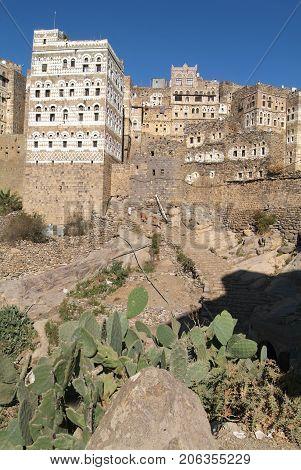 Al Hajjarah, Yemen - 8 january 2016: The village of Al Hajjarah on Haraz mountains Yemen