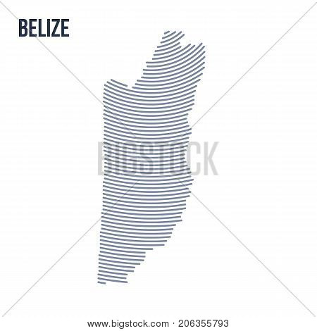 Vector Abstract Hatched Map Of Belize With Curve Lines Isolated On A White Background.
