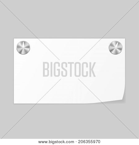 Paper notice fastened with metal thumbtacks. Vector 3d illustration