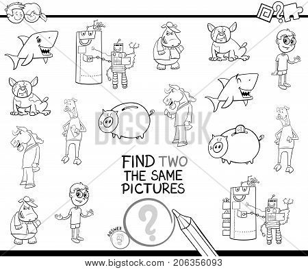 Find Two The Same Pictures Coloring Book