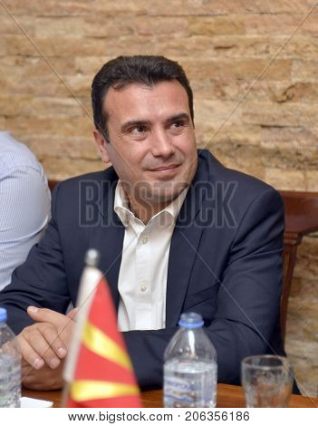 RESEN MACEDONIA - SEPTEMBER 25 2017: Zoran ZAEV Prime Minister of Macedonia and leader of the Social Democratic Union of Macedonia. RESEN , MACEDONIA - SEPTEMBER 25 , 2017: