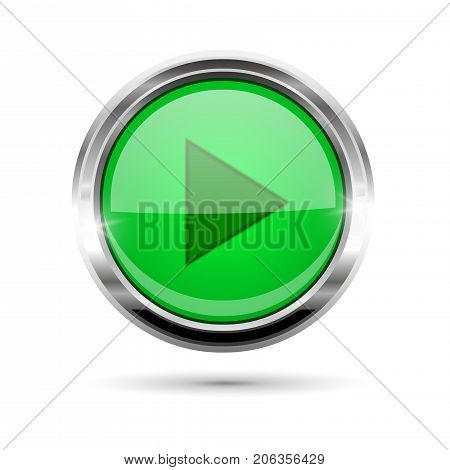 Green glass play button with chrome frame. Vector 3d illustration isolated on white background