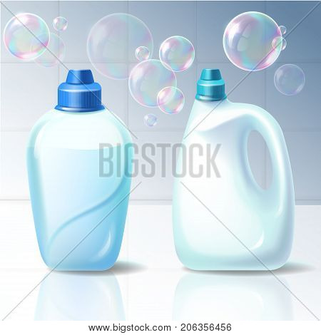 Set of vector isolated illustrations of plastic containers for storage, household chemical goods packaging, liquid detergent, bleach in realistic style.