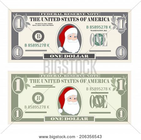 Usa Banking Currency Cash Symbol 1 Dollar Bill Money Set Paper Banknotes One