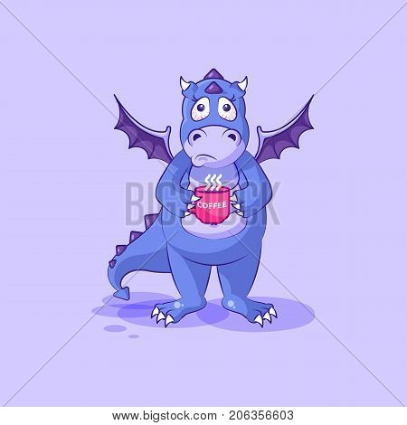 Vector Stock Illustration isolated Emoji character cartoon dragon dinosaur nervous with cup of coffee sticker emoticon for site, info graphics, video, animation, website, mail, newsletter, report