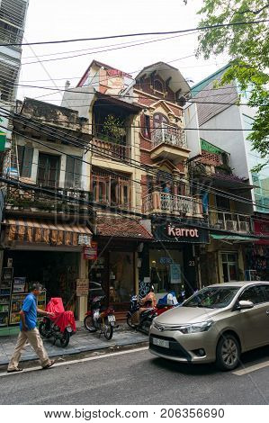 Hanoi Old Quarter Street With Historic Buildings