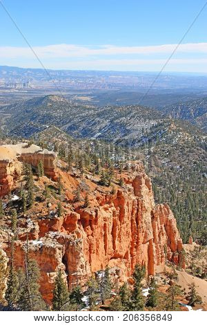 Looking down on Bryce Canyon Utah in winter