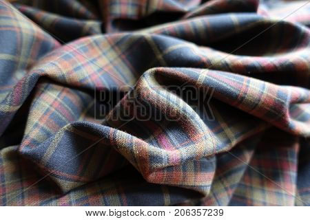 Folded Thick Plaid Fabric  In Subdued Colors