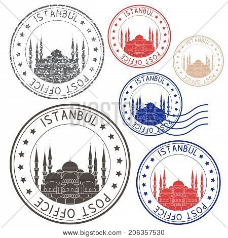 Post office round postmark with Blue mosque. Istanbul, Turkey. Colored collection. Vector illustration isolated on white background