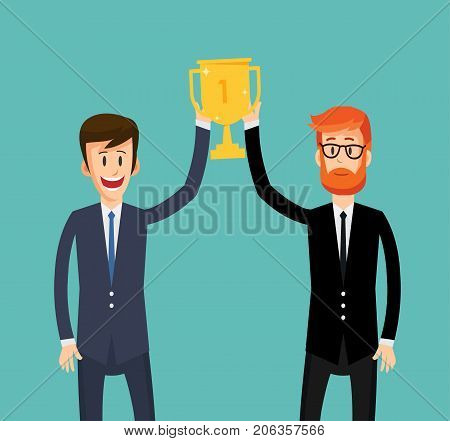 Two business man holding the winner's cup together. Business concept. Vector stock.