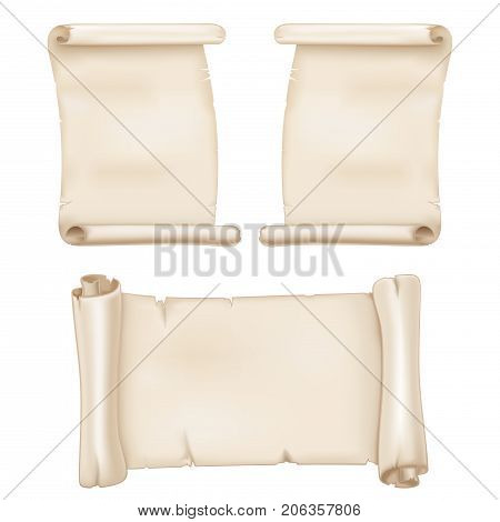 Parchment scrolls. Vector 3d illustration isolated on white background