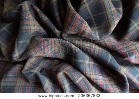Rumpled Thick Plaid Fabric  In Subdued Colors
