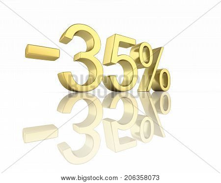 Gold Text 35 Percent Off On White Background With Reflection 3D Render