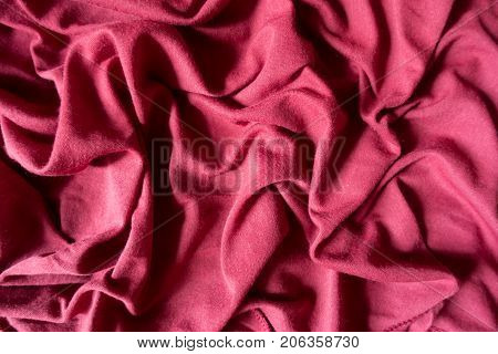Draped Bright Ruby Red Cotton Jersey Fabric