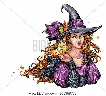 Haloween themed corner design element depicting kind-hearted Witch, casting a spell