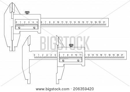 Caliper, closed and open. Outline drawing. Vector illustration isolated on white background