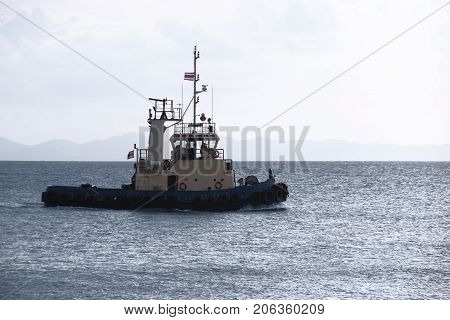 Image of Coastal Patrol boat in the blue ocean.