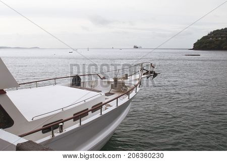 View of prow yacht and ocean background.